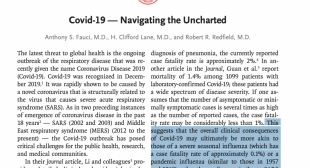 Dr. Fauci NEJM Editorial Suggests That COVID-19 Fatality Rates May Be 10x Lower Than Official Projections